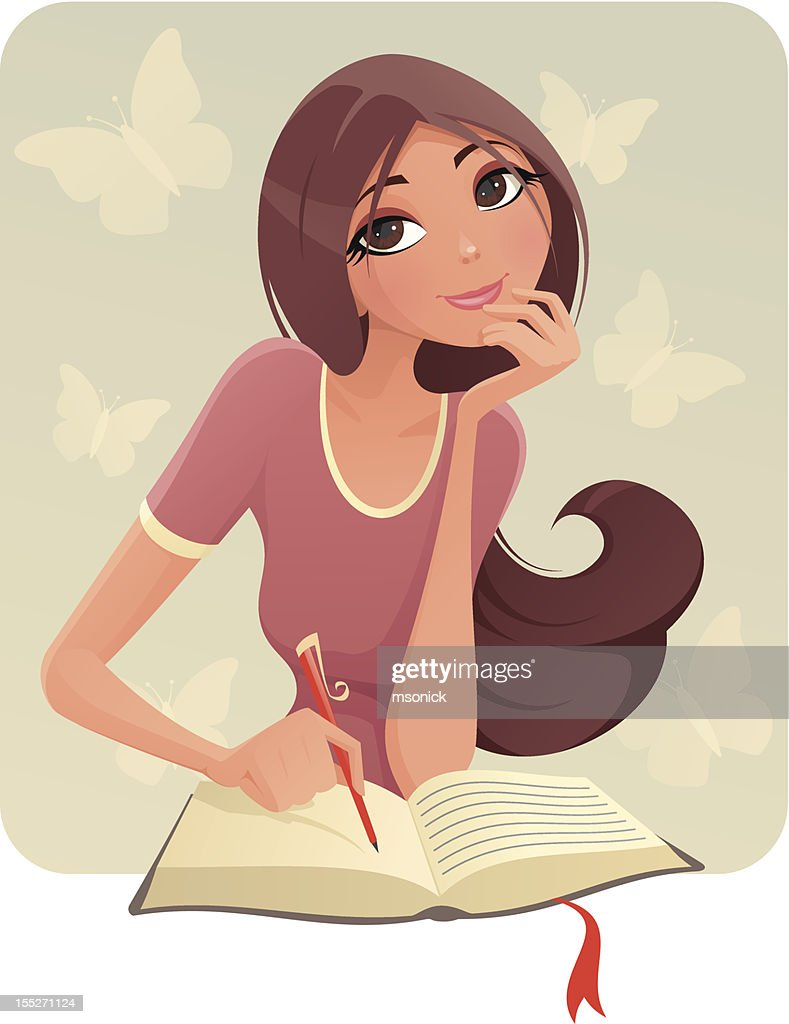 Brunette girl writing on what appears to be a diary : stock illustration