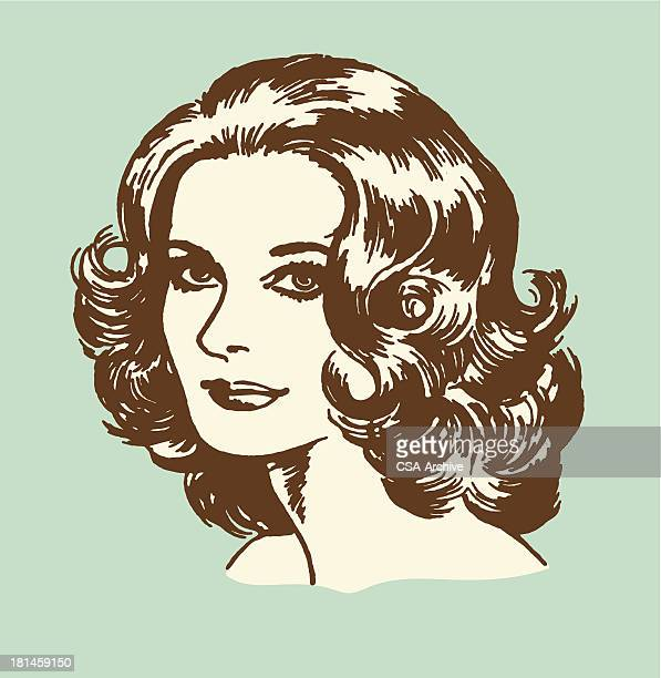 ilustrações de stock, clip art, desenhos animados e ícones de brunette mulher - cabelo cacheado