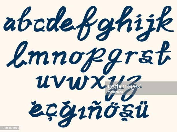 brush alphabet lowercase text - non western script stock illustrations
