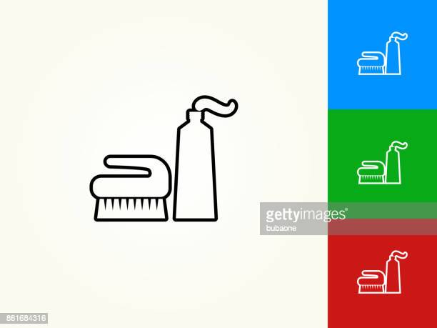 brush and cream black stroke linear icon - cleaning equipment stock illustrations, clip art, cartoons, & icons