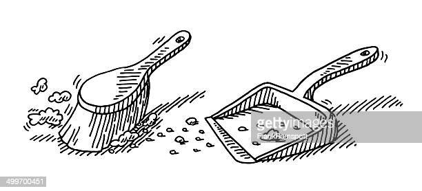 brush and dustpan cleaning drawing - dustpan stock illustrations, clip art, cartoons, & icons