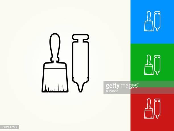 Brush and Glue Gun Black Stroke Linear Icon