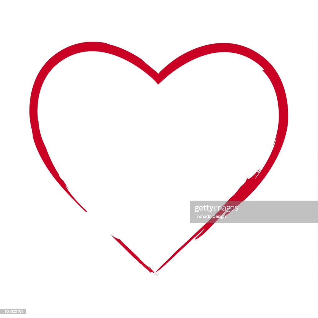Brush drawing calligraphy heart, isolated on white bg