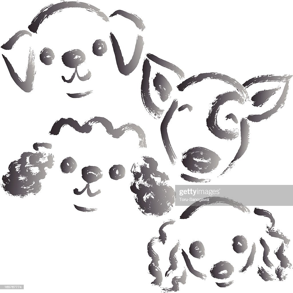 Brush drawing of dogs
