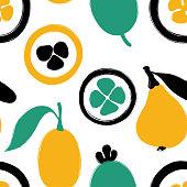 Brush Grunge Exotic Fruits Seamless Pattern.