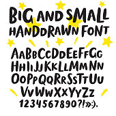 Brush hand drawn big and small letters