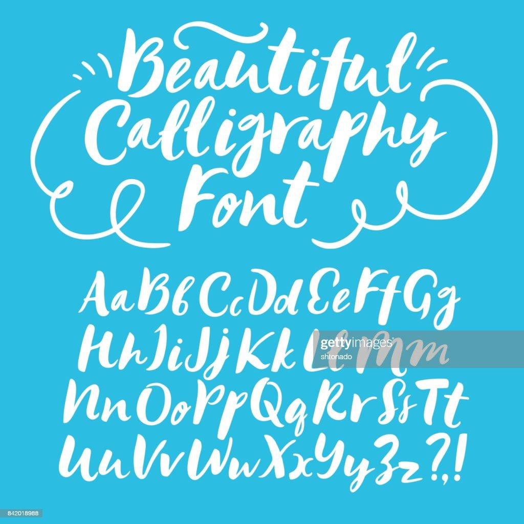 Brush hand drawn vector font