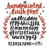Brush ink vector ABC letters and figures set