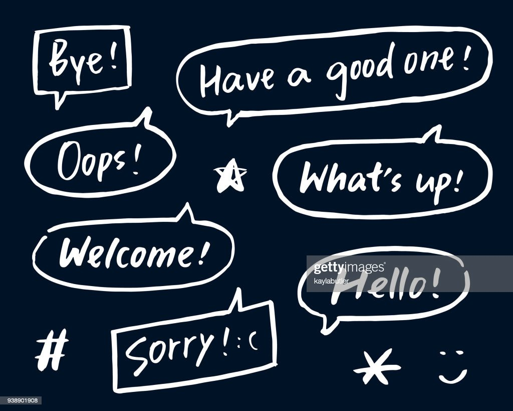 Brush Lettering Greeting In Speech Bubbles Vector Art Getty Images