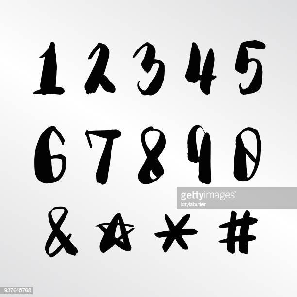 brush lettering - numbers and symbols - hashtag stock illustrations