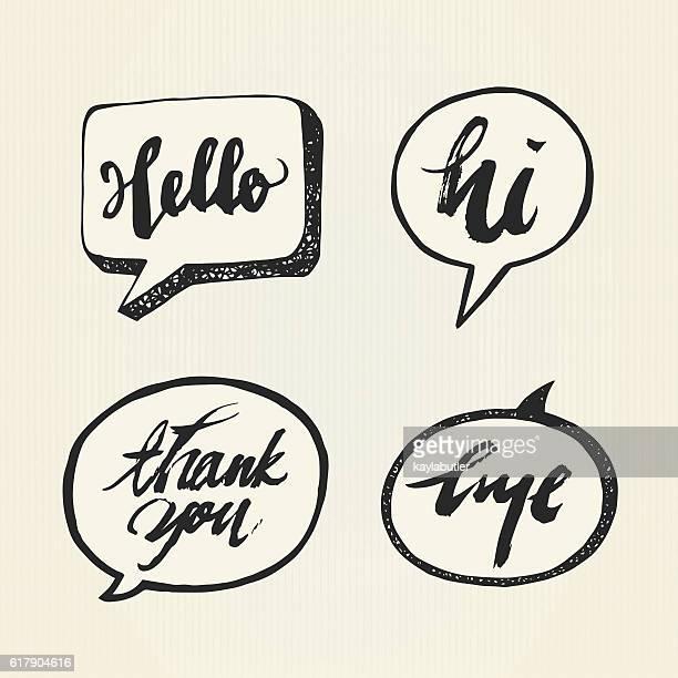 brush lettering (greeting) set - sprechblase stock-grafiken, -clipart, -cartoons und -symbole