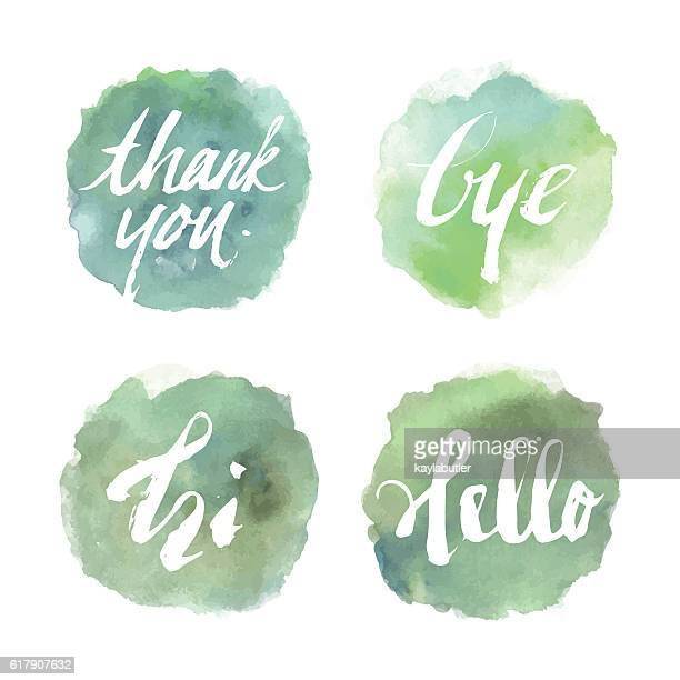 ilustraciones, imágenes clip art, dibujos animados e iconos de stock de brush lettering (greeting) set - gracias