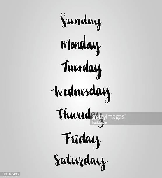 brush lettering (weekdays) set - monday stock illustrations