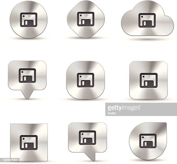 brush metal icon set of memory drive - floppy disk stock illustrations, clip art, cartoons, & icons