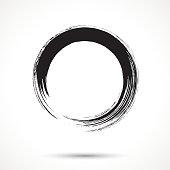 Brush painted black ink circle