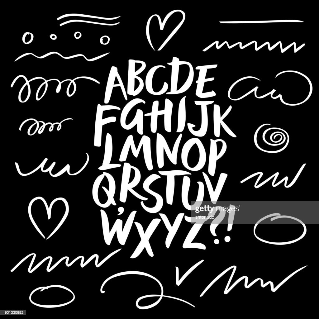 Brush pen calligraphy vector letters and strokes.