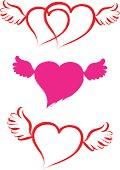 Brush stroke heart shape with wings