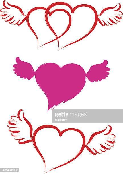 Pincelada Símbolo do Coração com asas