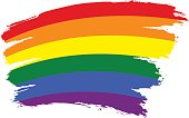 Brush Stroke Rainbow Flag LGBT Movement