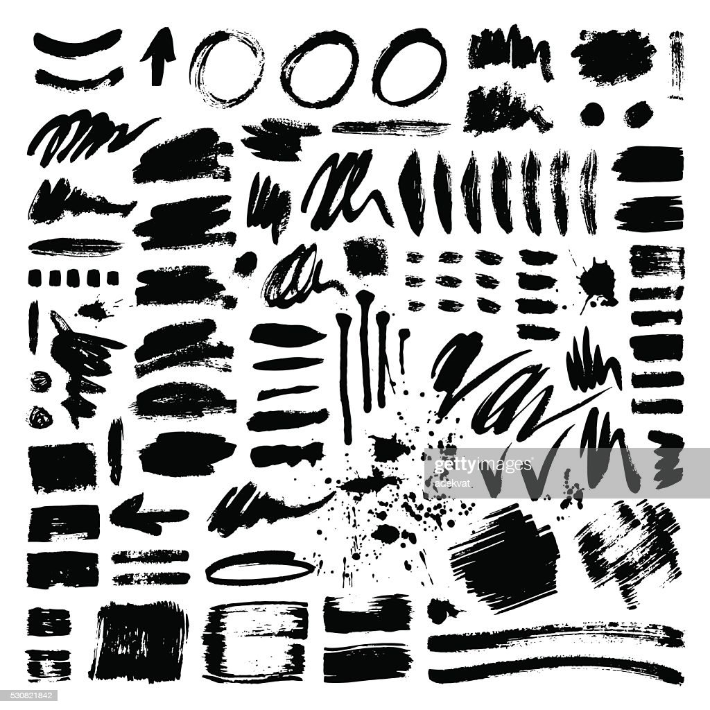 Brush stroke vector set