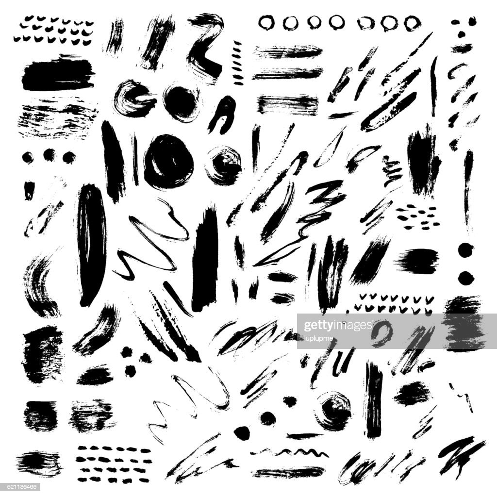 Brush stroke vector set.