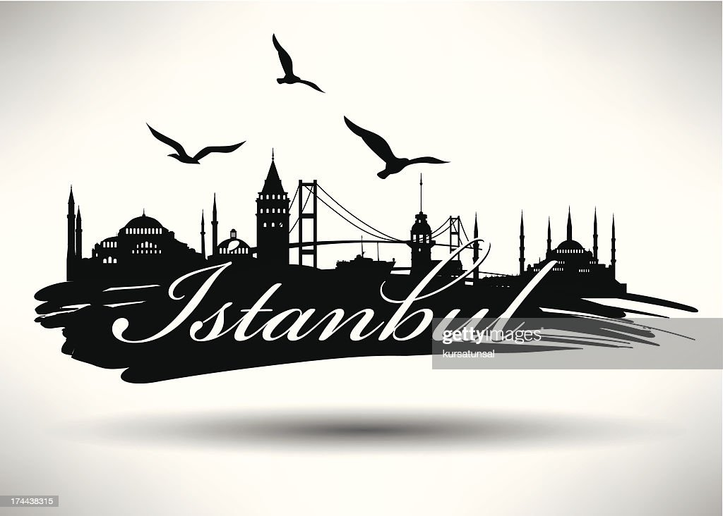 Brush Stroked Istanbul Silhouette
