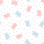 Brush strokes and round dots. Trendy seamless pattern drawn by hand. Grunge, sketch, watercolour.