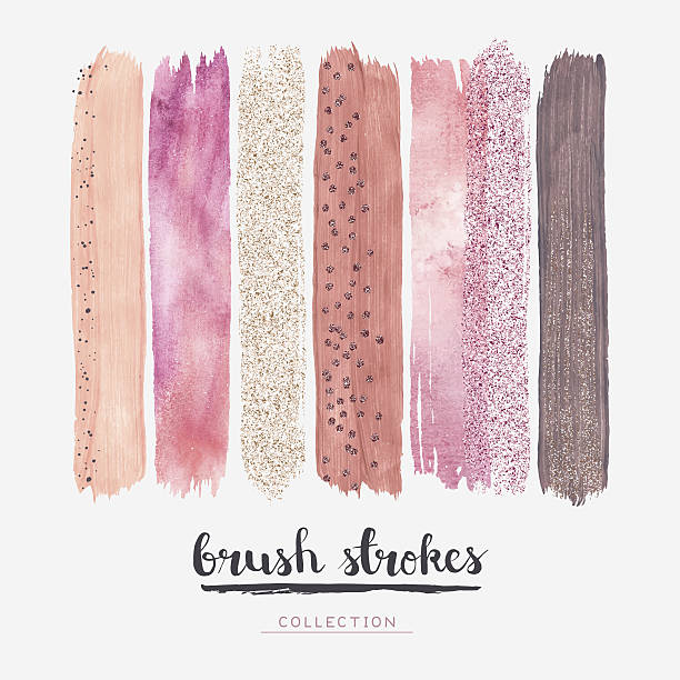 brush strokes glitter collection - pink stock illustrations