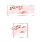 Brush strokes in gentle pink tones.Gentle pastel colors.Rose gold rectangle frame .Abstract vector background.Pink sparkle glossy scribble, grunge or smudge. Glam style cosmetic