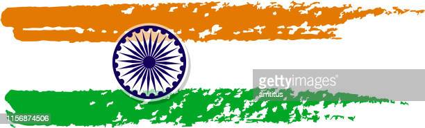 brush strokes indian flag - india politics stock illustrations