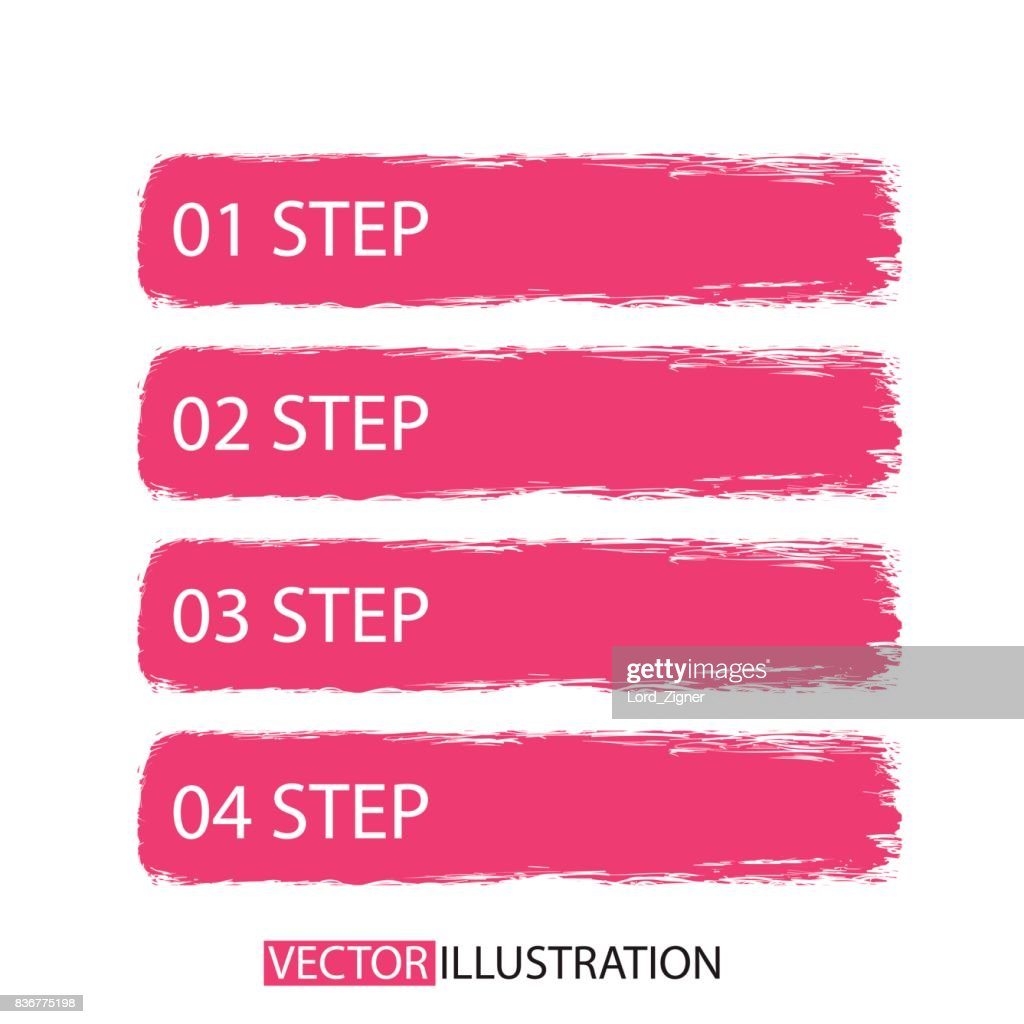 Brush strokes infographics options banner. For your business project. Vector illustration