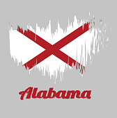 Brush style color flag of Alabama, The states of America, Red St. Andrew's saltire in a field of white.