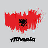 Brush style color flag of Albania, a red field with the black double-headed eagle in the center. with name text Albania.