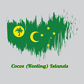 Brush style color flag of Cocos (Keeling) Islands, a palm tree on a gold disc, crescent and southern cross on green.