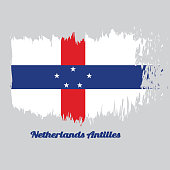Brush style color flag of Netherlands Antilles, A circle of twelve five-pointed yellow stars on a blue field.