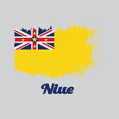 Brush style color flag of Niue, A golden yellow flag with the Union Jack in the upper left with star.