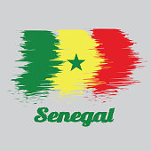 Brush style color flag of Senegal, green yellow and red; charged with a green five-pointed star at the center.