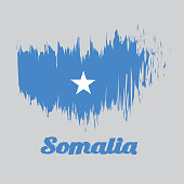 Brush style color flag of Somalian, a single white five-pointed star centered on a light blue field with text Somalia.
