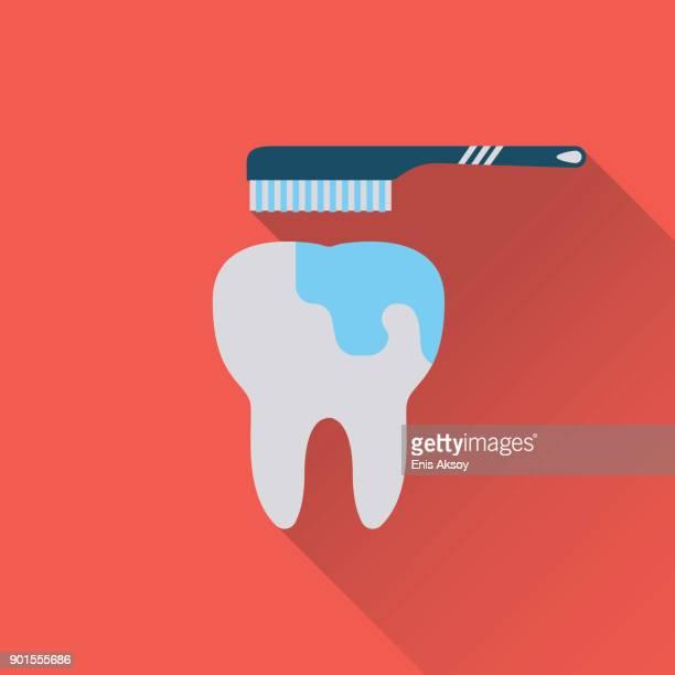 brush teeth flat icon - brushing teeth stock illustrations