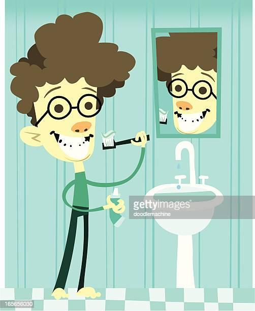 brush them pearly whites! - brushing teeth stock illustrations