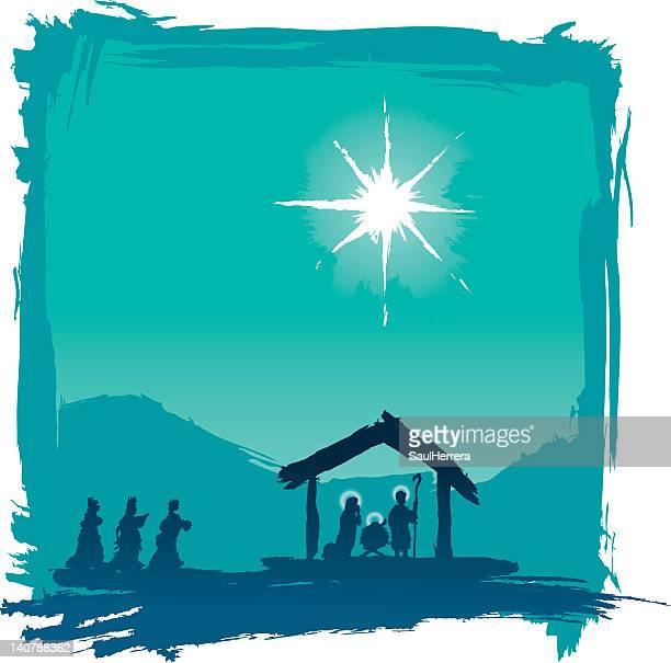 ilustraciones, imágenes clip art, dibujos animados e iconos de stock de jesús nativity cepillado - nacimiento de navidad