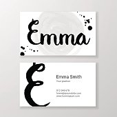 Brushed letter Emma name hand written business card template
