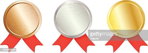 stockillustraties, clipart, cartoons en iconen met brushed metal award medal - bronzen medaillewinnaar