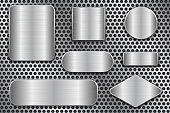 Brushed metal plates. Set of geometric shape plaques on perforated background