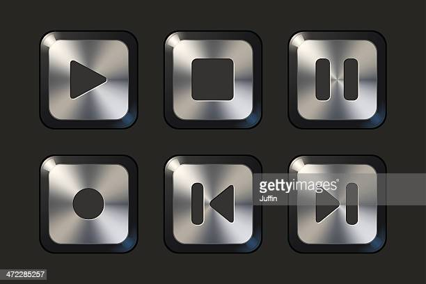 brushed metal player controls - dipping stock illustrations, clip art, cartoons, & icons