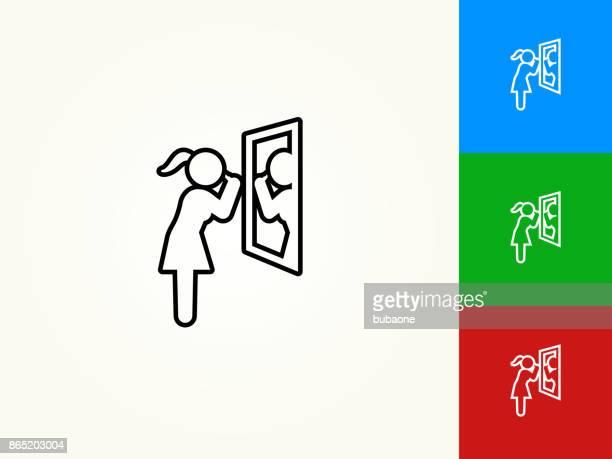 illustrations, cliparts, dessins animés et icônes de brossage des dents noir avc icône linéaire - se brosser les dents