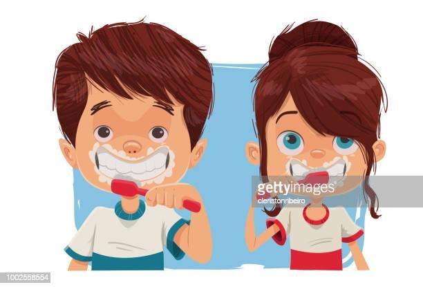 brushing teeth - brushing teeth stock illustrations