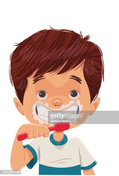 brushing teeth - human teeth stock illustrations