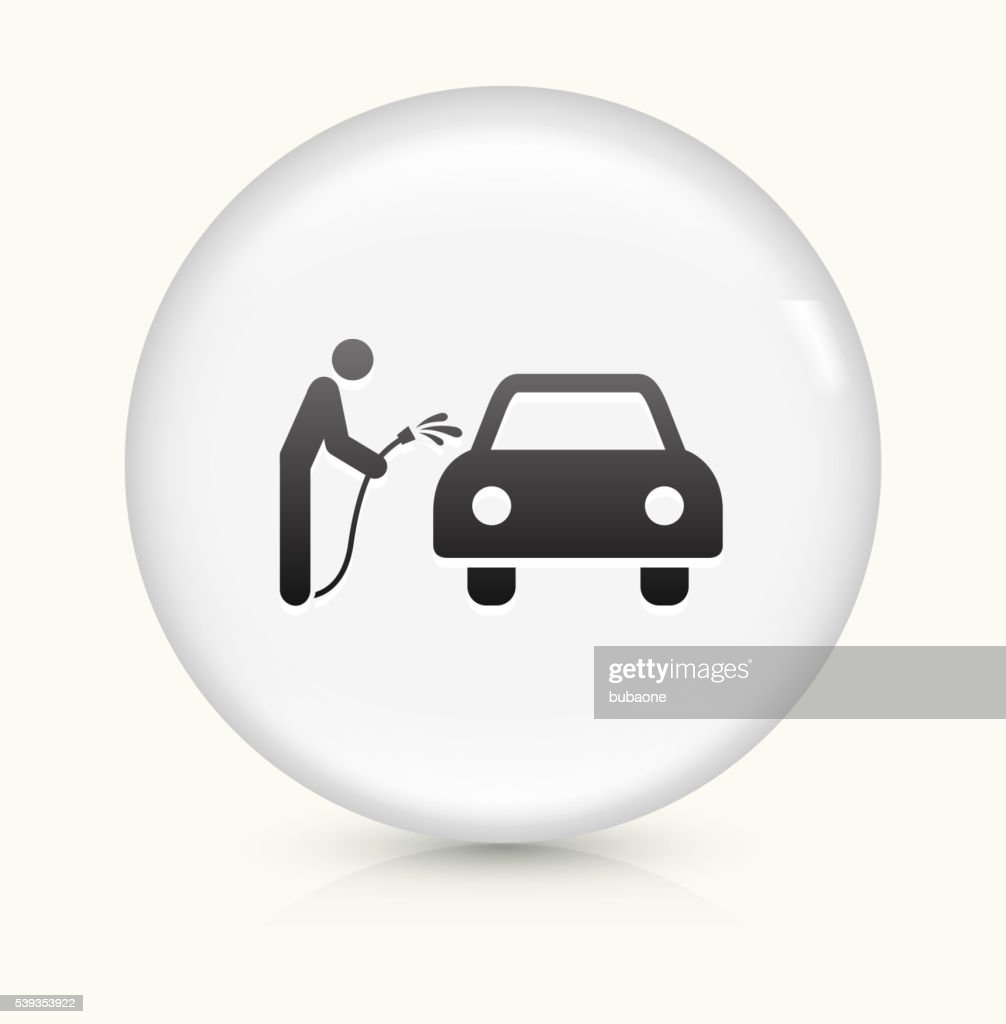 Brushless  Hand Car Wash icon on white round vector button