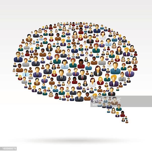 ilustraciones, imágenes clip art, dibujos animados e iconos de stock de burbujas hecho iconos de personas - cuestionario